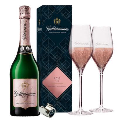 Les Premiers - Rosé Sec (1 Rosé Sec, 1 GePa, 1 Sektverschluss, 2 Gläser)